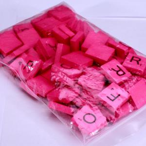 100 Pcs Uppercase Wooden Scrabble Tiles Crafts Wood Alphabets for Kids - ROSE RED