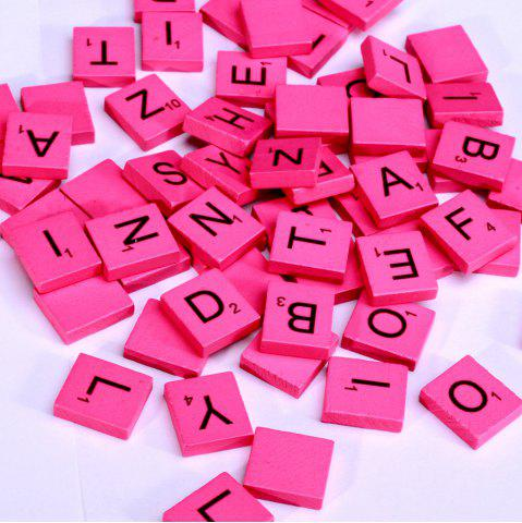 Buy 100 Pcs Uppercase Wooden Scrabble Tiles Crafts Wood Alphabets for Kids ROSE RED
