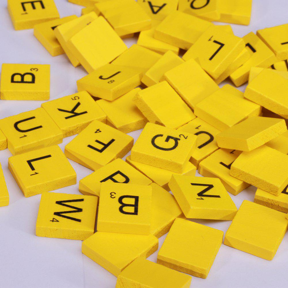 100 Pcs Uppercase Wooden Scrabble Tiles Crafts Wood Alphabets for KidsHOME<br><br>Color: YELLOW;
