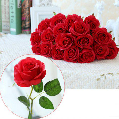 New 10 Branch Silk Roses Wedding Party Decoration Home Decoration Artificial Flowers - RED  Mobile
