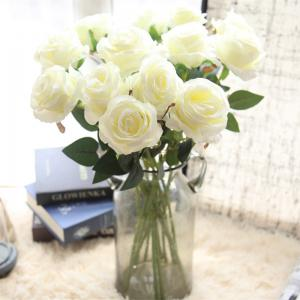 10 Branch Silk White Roses Wedding Party Decoration Home Decoration Artificial Flowers -