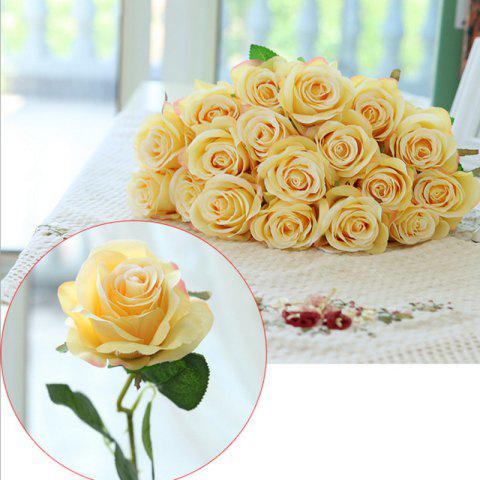 Cheap 10 Branch Silk Yellow Roses Wedding Party Decoration Home Decoration Artificial Flowers