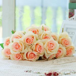 10 Branch Silk Champagne Roses Wedding Party Decoration Home Decoration Artificial Flowers -