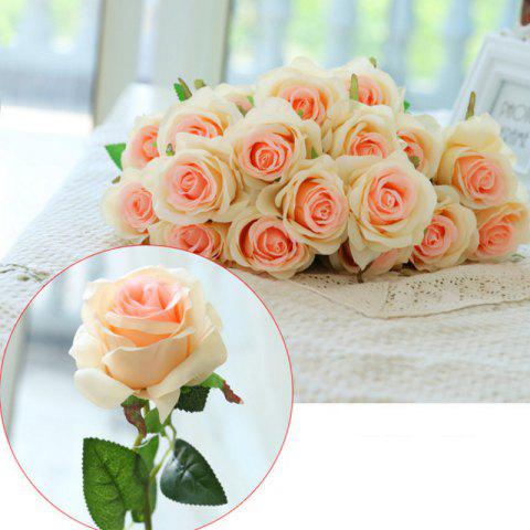 Shop 10 Branch Silk Champagne Roses Wedding Party Decoration Home Decoration Artificial Flowers