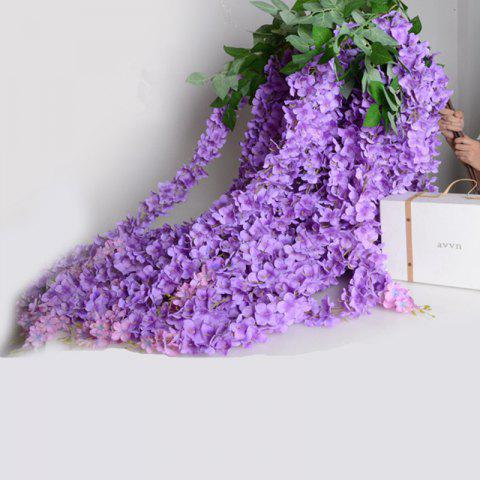Cheap 3 Heads 1 Branch Hydrangea String Wedding Site Layout Artificial Flower 140CM PURPLE