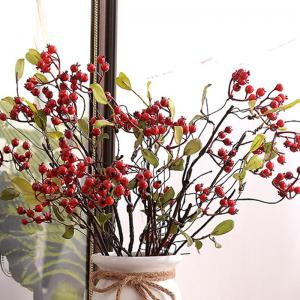 1 Branch High Simulation Red Fruit Home Decoration Artificial Flower -