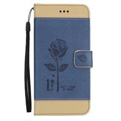 Wkae Mixed Colors Rose Flower Frosted Premium Leather Wallet Stand Case Cover with Lanyard Card Slots for Samsung Galaxy S8 -