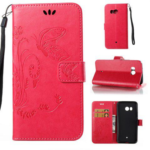 Outfits Wkae Flowers Embossing Pattern PU Leather Flip Stand Case Cover for HTC U11