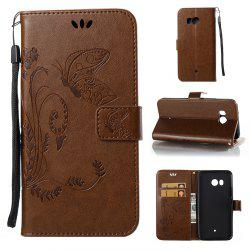 Wkae Flowers Embossing Pattern Housse en cuir Flip Leather Case pour HTC U11 -