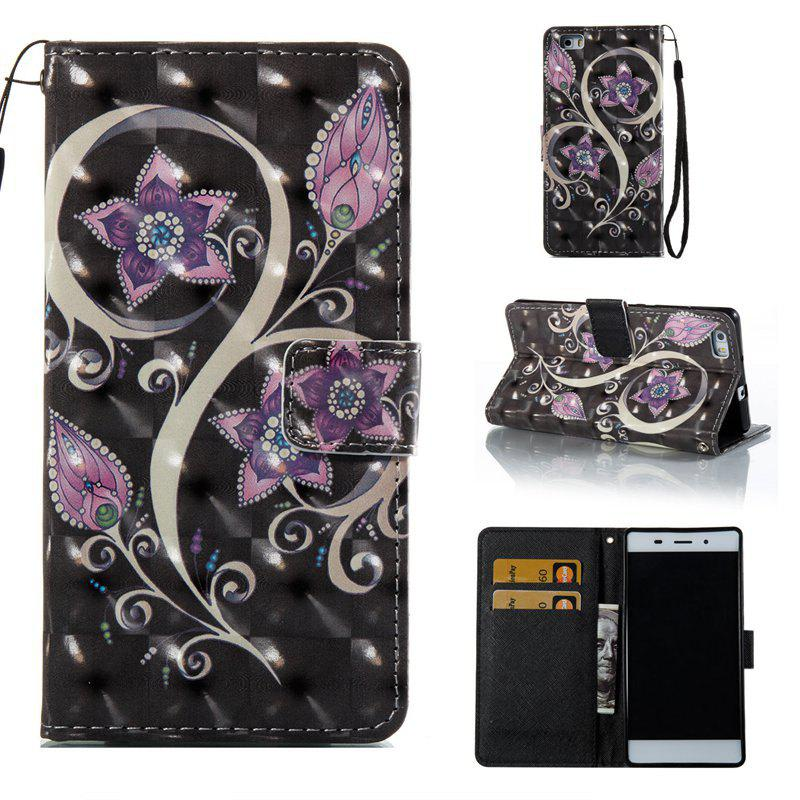 Trendy Peacock Flower 3D Painted Pu Phone Case for Huawei P8 Lite