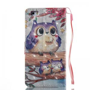 Purple Owl 3D Painted Pu Phone Case for Huawei P8 Lite -