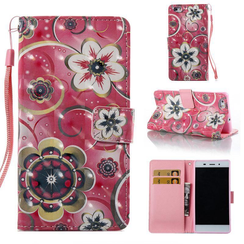 Best Tulip Flower 3D Painted Pu Phone Case for Huawei P8 Lite
