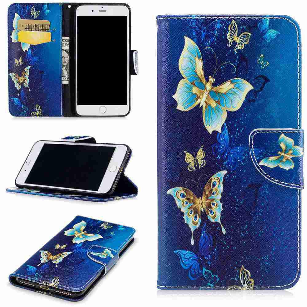 Unique Golden Butterfly Pu Phone Case for iPhone 7