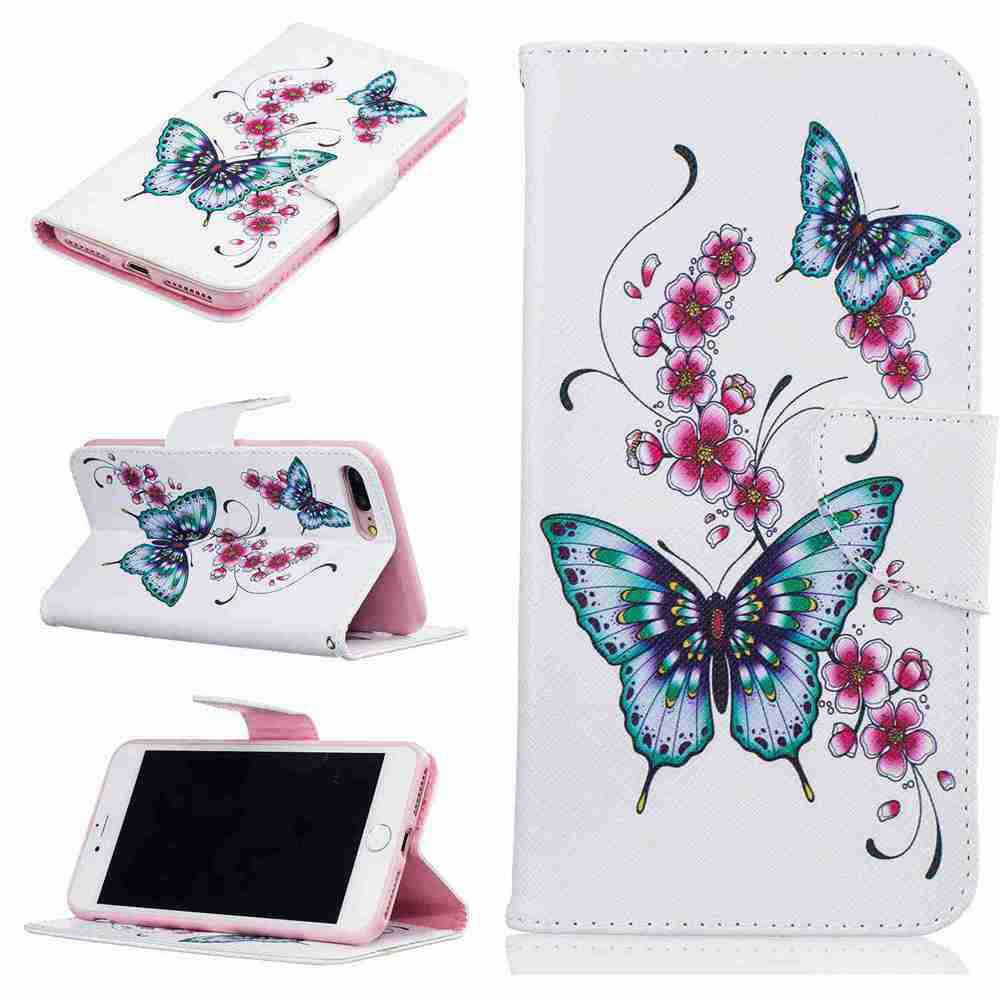 Trendy Peach Butterfly Pu Phone Case for iPhone 7