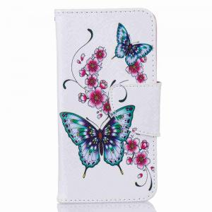 Peach Butterfly Painted Pu Phone Case for iPhone 5S/Se -