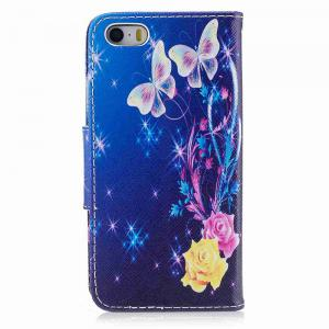 Yellow Butterfly Painted Pu Phone Case for iPhone 5S/Se -