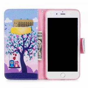 Two Owls Painted Pu Phone Case for iPhone 5S/Se -