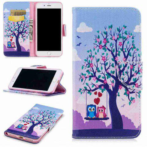 Trendy Two Owls Painted Pu Phone Case for iPhone 5S/Se