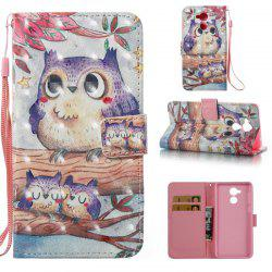 Purple Owl 3D Painted Pu Phone Case for HUAWEI Honor 6C -