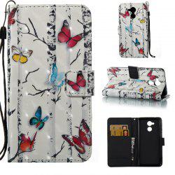 Butterflies 3D Painted Pu Phone Case for HUAWEI Honor 6C -