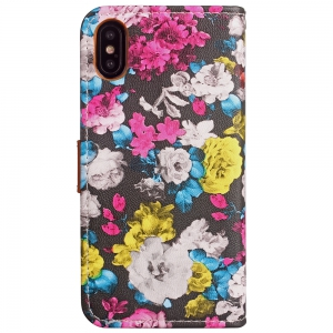 Yc Ink Painting Flowers Card Lanyard Pu Leather for iPhone X -