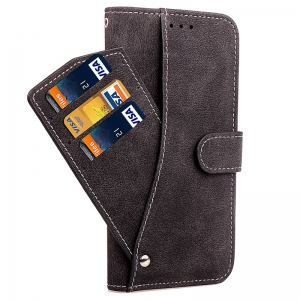 Yc Rotate The Lanyard Card Pu Leather pour iPhone 8 -