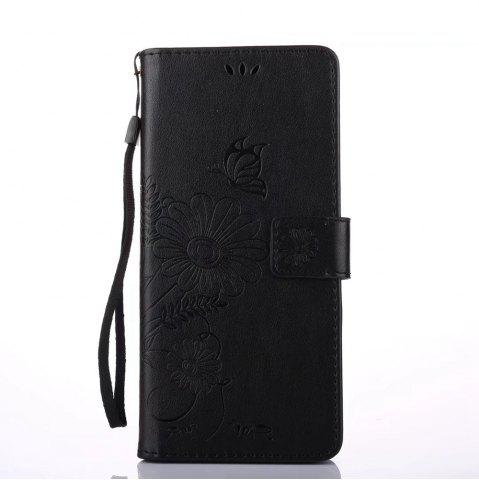 Fancy Wkae Embossing Flowers Horizontal Flip Stand Wallet Case with Lanyard and Card Slots for iPhone X
