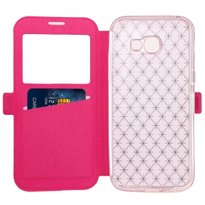 Yc Lingogwen Window Card Lanyard Pu Leather for Samsung A320 -