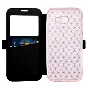 Yc Lingogwen Window Card Lanyard Pu Leather pour Samsung A520 -