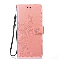 Wkae Embossing Flowers PU Leather Case Cover with Lanyard and Card Slots for Samsung Galaxy Note 8 -