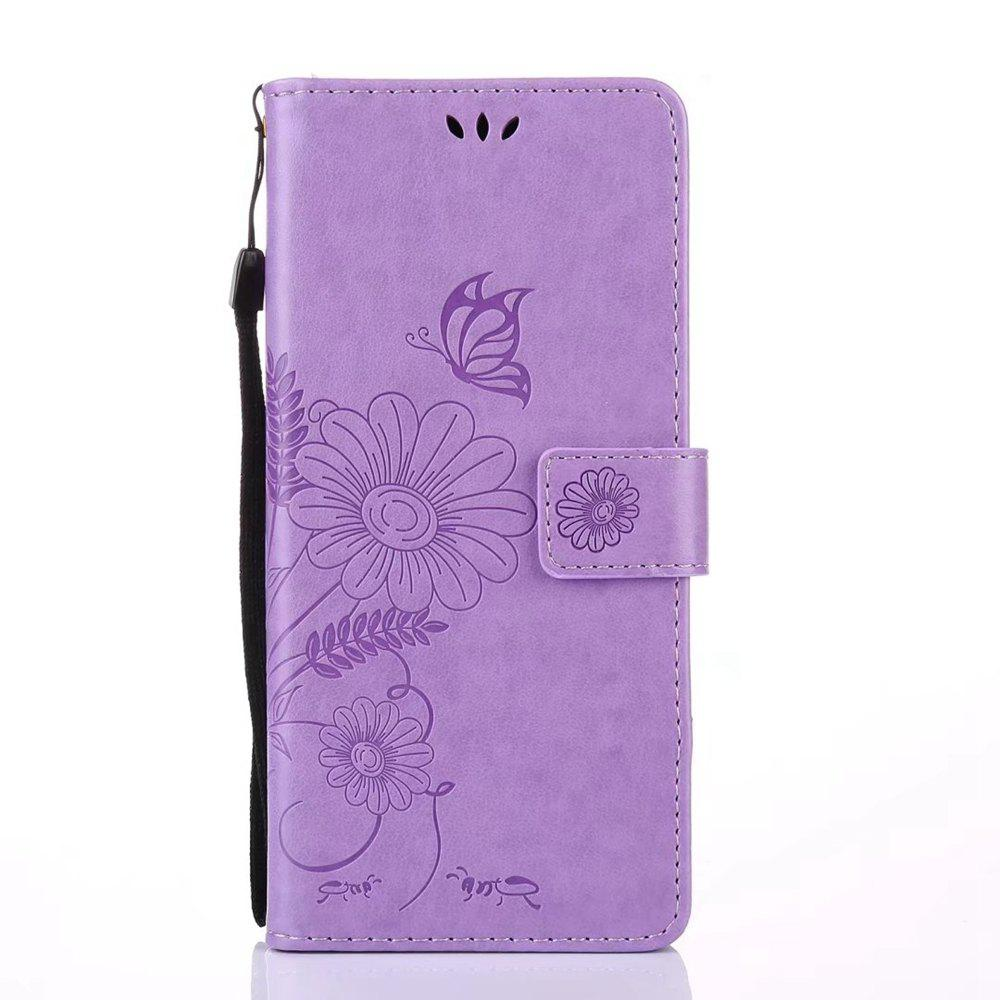 Trendy Wkae Embossing Flowers PU Leather Case Cover with Lanyard and Card Slots for Samsung Galaxy Note 8