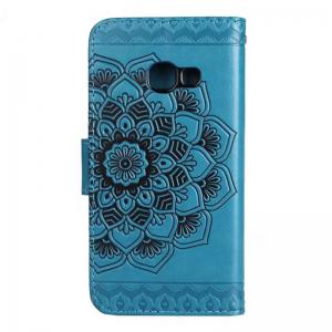 WKae Half Flowers Embossed Pattern Premium PU Leather Wallet Pouch Case with Kickstand Lanyard and Card Slots for Samsung Galaxy J7 Prime -
