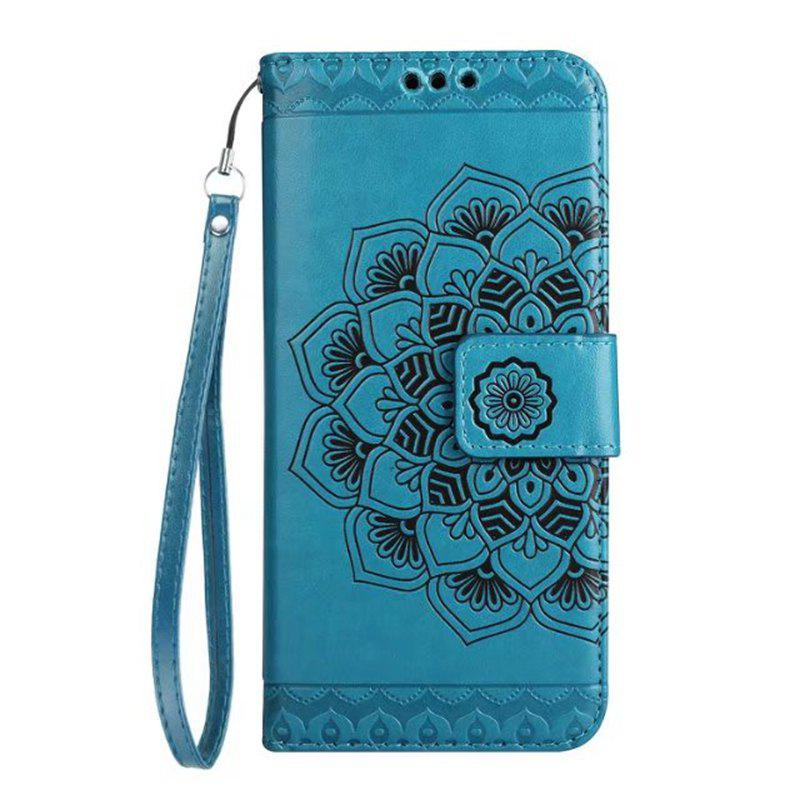 Trendy WKae Half Flowers Embossed Pattern Premium PU Leather Wallet Pouch Case with Kickstand Lanyard and Card Slots for Samsung Galaxy J7 Prime