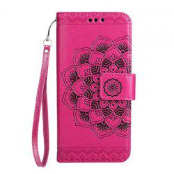 WKae Half Flowers Embossed Pattern Premium PU Leather Wallet Pouch Case with Kickstand Lanyard and Card Slots for Samsung Galaxy J320 -