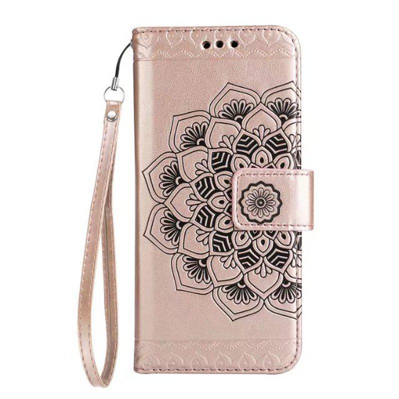Chic WKae Half Flowers Embossed Pattern Premium PU Leather Wallet Pouch Case with Kickstand Lanyard and Card Slots for Samsung Galaxy J320