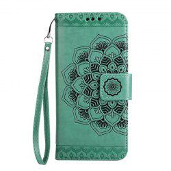 WKae Half Flowers Embossed Pattern Premium PU Leather Wallet Pouch Case with Kickstand Lanyard and Card Slots for Samsung Galaxy J510 -