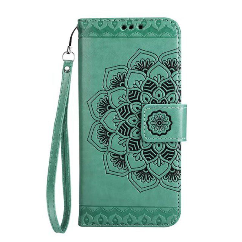 Unique WKae Half Flowers Embossed Pattern Premium PU Leather Wallet Pouch Case with Kickstand Lanyard and Card Slots for Samsung Galaxy J510