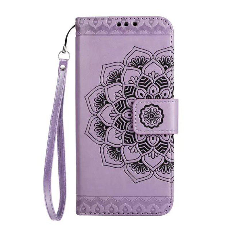 Unique WKae Half Flowers Embossed Pattern Premium PU Leather Wallet Pouch Case with Kickstand Lanyard and Card Slots for Samsung Galaxy S6