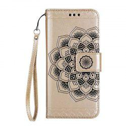WKae Half Flowers Embossed Pattern Premium PU Leather Wallet Pouch Case with Kickstand Lanyard and Card Slots for Samsung Galaxy S6 Edge -