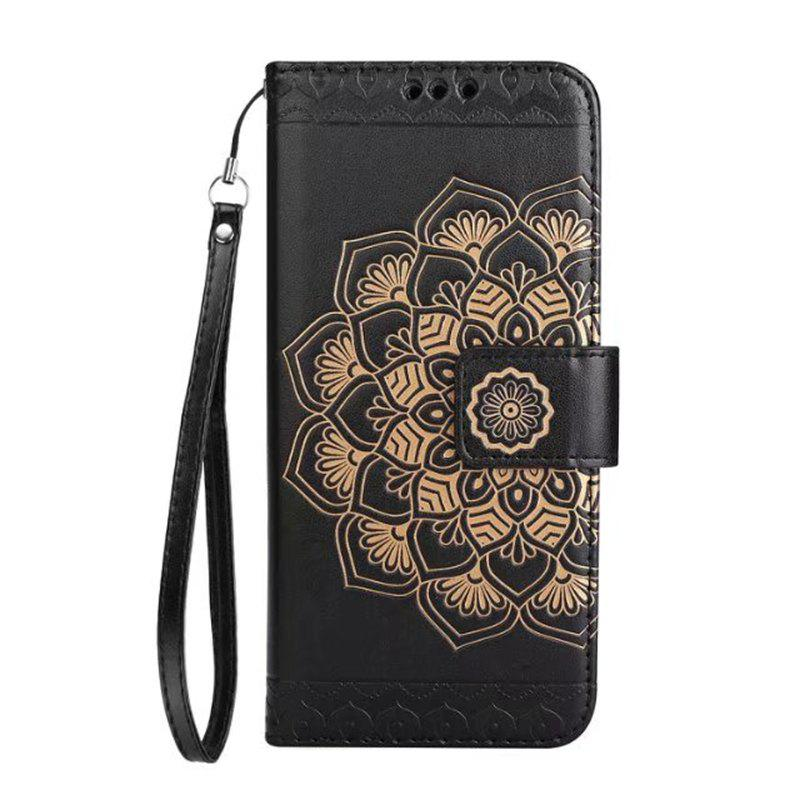 Outfits WKae Half Flowers Embossed Pattern Premium PU Leather Wallet Pouch Case with Kickstand Lanyard and Card Slots for Samsung Galaxy S6 Edge