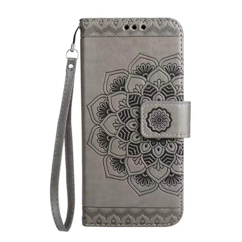 Chic WKae Half Flowers Embossed Pattern Premium PU Leather Wallet Pouch Case with Kickstand Lanyard and Card Slots for Samsung Galaxy S7