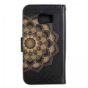 WKae Half Flowers Embossed Pattern Premium PU Leather Wallet Pouch Case with Kickstand Lanyard and Card Slots for Samsung Galaxy S7 Edge -