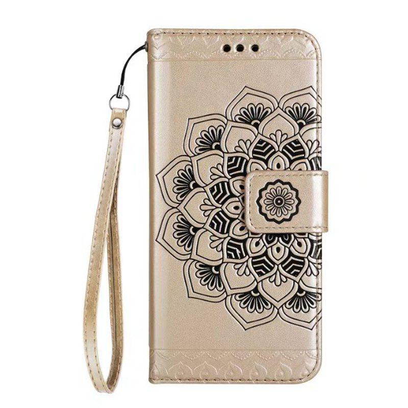 Trendy WKae Half Flowers Embossed Pattern Premium PU Leather Wallet Pouch Case with Kickstand Lanyard and Card Slots for Samsung Galaxy S7 Edge
