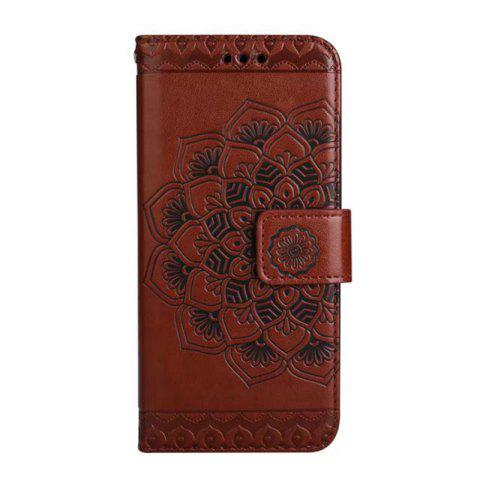 Affordable WKae Half Flowers Embossed Pattern Premium PU Leather Wallet Pouch Case with Kickstand Lanyard and Card Slots for Samsung Galaxy S8 Plus