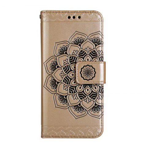 New WKae Half Flowers Embossed Pattern Premium PU Leather Wallet Pouch Case with Kickstand Lanyard and Card Slots for Samsung Galaxy S8 Plus