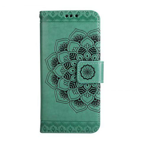 Sale WKae Half Flowers Embossed Pattern Premium PU Leather Wallet Pouch Case with Kickstand Lanyard and Card Slots for Samsung Galaxy S8 Plus
