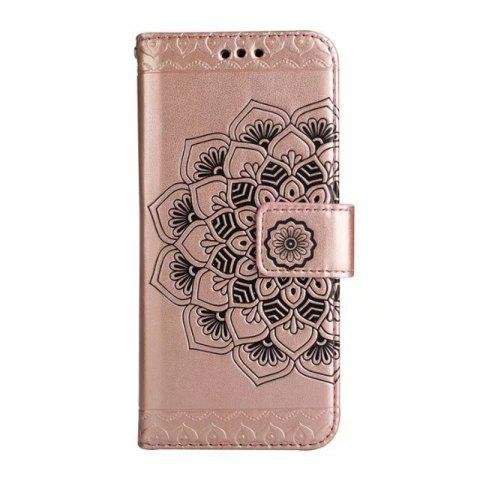Cheap WKae Half Flowers Embossed Pattern Premium PU Leather Wallet Pouch Case with Kickstand Lanyard and Card Slots for Samsung Galaxy S8 Plus