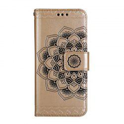 WKae Half Flowers Embossed Pattern Premium PU Leather Wallet Pouch Case with Kickstand Lanyard and Card Slots for Samsung Galaxy S8 Plus -