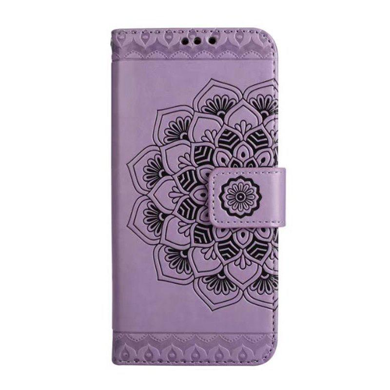 Buy WKae Half Flowers Embossed Pattern Premium PU Leather Wallet Pouch Case with Kickstand Lanyard and Card Slots for Samsung Galaxy S8 Plus