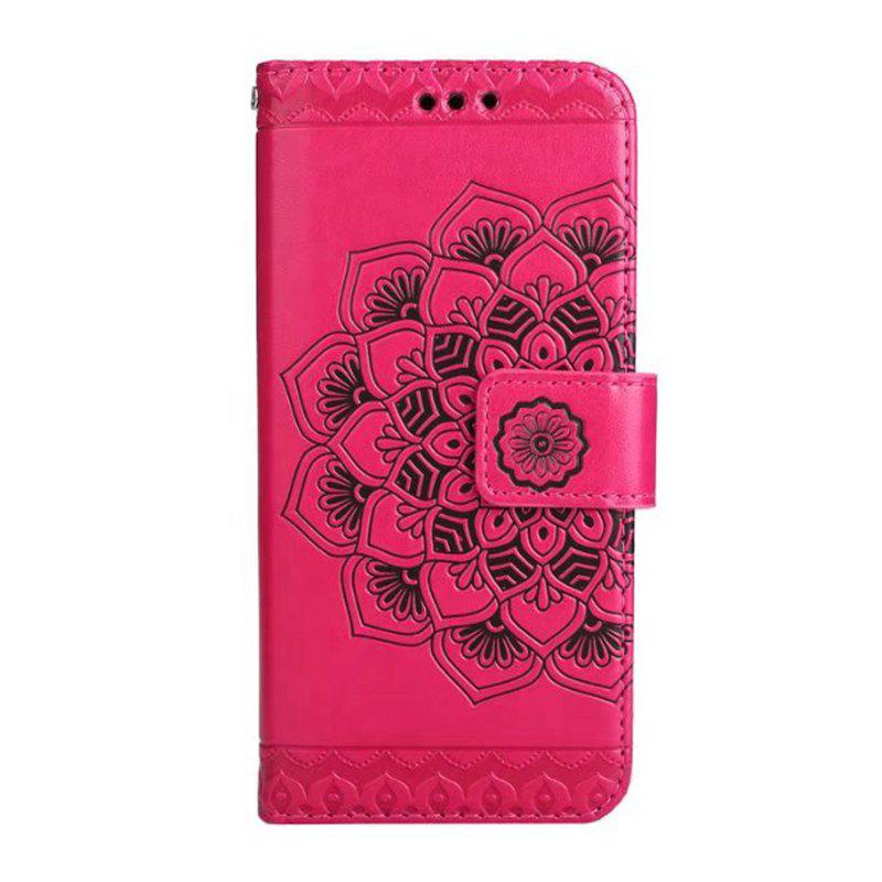 Latest WKae Half Flowers Embossed Pattern Premium PU Leather Wallet Pouch Case with Kickstand Lanyard and Card Slots for Samsung Galaxy S8 Plus